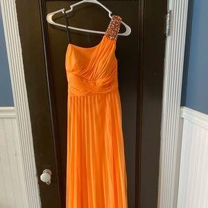 Orange One Shoulder Prom Dress